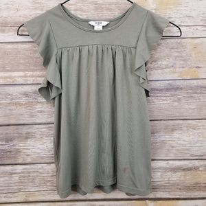 GUESS Ruffle Butterfly Sleeve Top Olive Girl SMALL